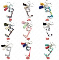 Wholesale plastic fashion girl rings for sale - Group buy Fashion Tassel Keychain Key Ring Holder Toy Public Non contact Elevator Button Protective Tool Key Chain Ring Holder door opener SALE E73101