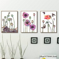 Wholesale canvas art poppies resale online - Watercolor Flower Canvas Painting Poppies Decor Nordic Poster Wall Art Posters And Prints Wall Pictures For Living Room Unframed