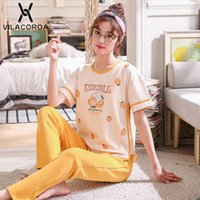 Wholesale pajama cotton for women for sale - Group buy Summer Cotton Korean Pajamas For Women Printed Round Neck Short sleeve Top Long Pant Pajama Sets Sports Casual Pyjamas Women Y200708