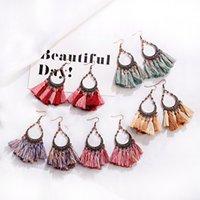Wholesale gypsy fashion style resale online - Bohemian Style Fashion Color Cotton Silk Tassel Drop Earrings Handmade India Gypsy jewelry