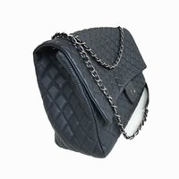 Wholesale bags for luggage resale online - Airport series oversize chain flip bag gram color ultra soft lychee stripe cowhide made old silver chain boarding bag for luggage
