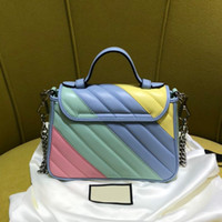 Wholesale gg button for sale - Group buy 2020 autumn new designer rainbow genuine leather Quilting bag Colorful woman fashion handbag Top Quality Famous GG marmont style free ship