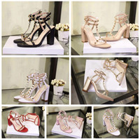 Wholesale nightclub sandals resale online - New fashion exquisite high heel sandals bright European style nightclub sexy high heels patent leather metal rivet shoes size