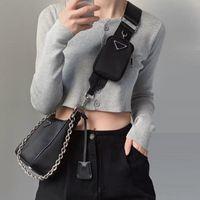 Wholesale cloth purses bags resale online - Nylon cloth Multiple uses Purses Women Messenger Bag Khaki Black cowhide Lady Handbags Fashion Crossbody Body Bags High Quality