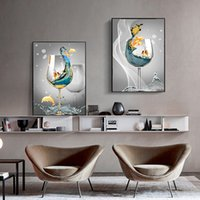Wholesale canvas paintings wine glasses resale online - Modern Abstract Art Ocean Landscape In Wine Glass Canvas Painting Wall Art Pictures for Living Room Home Decor No Frame