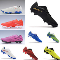 Wholesale gold youth cleats resale online - Lace Up Nemeziz Messi Football Boots Hardwired Pack Youth Boys Junior TPU soccer cleats Agility Firm Ground Core Black Gold