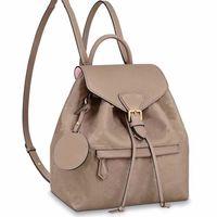Wholesale black color backpack resale online - Backpack Student School Bags Shoulder Bags Removable Shoulder Strap Cowhide Genuine Leather Fashion L Letter Pattern String Black High