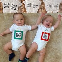 Wholesale girl shower gifts for sale - Group buy Twins Baby Bodysuit Clothes Buy One Get One Free Baby Boy Girl Clothing Cute Summer Short Sleeve Bodysuits Twins Shower Gift