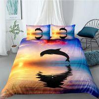 Wholesale 3d bedding set dolphins resale online - 3D Duvet Cover Sets Quilt Covers Comforter Case Set Bedding Set King Queen Full Twin Double Single Size Blue Dolphin Bed Linens LKRU