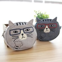 Wholesale fabric cat purses resale online - Japanese cute summer fabric embroidery cat cosmetic coin purse storage shopping wallet storage small cosmetic Bag small bag
