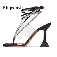 Wholesale sexy black satin high heels for sale - Group buy 2020 Black Satin Bandage Sandals Women Flip Flops Rhinestone Snake Ankle Strap Strange High Heel Shoes Woman Sexy Party Shoes