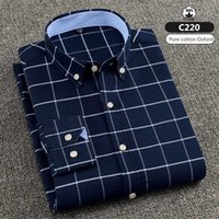 oxford color shirt 2021 - 2020 new men's plus size long sleeve shirt cotton Oxford shirt business casual soft solid color plaid inch clothes size S-7XL