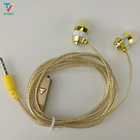 Wholesale factory deals for sale - Group buy 100pcs Factory direct deal shine glitter golden sliver pink earphones earcup headset with microphone mic crystal line Color