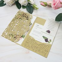 Wholesale bridal showers invitations resale online - Gold Blue Burgundy Sweetheart Flower Print Pocket Wedding Party Invitations Shimmer Invitation Cards for Anniversary Bridal Shower Quince