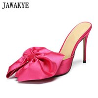 Wholesale rose slippers resale online - Rose Red Big Bowknot Thin high heel Slippers Women Satin women shoes Pointed toe Summer Mules Sexy Wedding Party Shoes