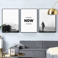 ingrosso dipingere la parete delle onde dell'oceano-Scandinavi Ocean Waves Paesaggio Canvas Poster Natura Nordic Art Black Wall Surf ragazza bianca Pittura Picture Home Decor