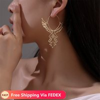 Wholesale bijoux vintage resale online - New Bohemia Vintage Hollow Leaves Drop Earrings Women s Jewelry Big Brand Exaggerated Female Dangle Brincos Bijoux Gift