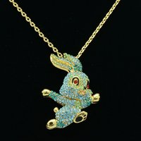 Wholesale gold clearance for sale - Group buy blue rhinestone crystals cute bunny rabbit necklaces pendants sn2954 clearance sale beautiful necklaces pendants supplies
