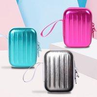 Wholesale cute simple wallets resale online - Mini suitcase cute small coin Suitcase wallet earphone wallet purse simple fashion earphone bag elegant new coin purse