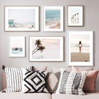 Wholesale art painting beautiful girls pictures resale online - Wall Art Canvas Painting Summer Surfing Beach Beautiful Girl Nordic Posters And Prints Wall Pictures For Living Room Wall Decor