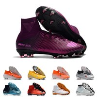 Wholesale cleats for soccer ronaldo for sale - Group buy Mens FG Cleats Purple Superfly Elite Neymar High Ankle Outdoor Soccer Shoes Ronaldo CR7 Mercurial Football Crampons Boots for Male D0802