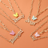 Wholesale angels pendants resale online - Sweet Popular Fashion Layered Necklace Girls Acrylic Butterfly Double Layer Letter Alphabet Angel Pendant Necklace Jewelry Gift For Women