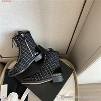 Wholesale heads boots for sale - Group buy The latest round head patent leather Plaid womens shoes in high top and low heel casual shoes fashion boot With original box