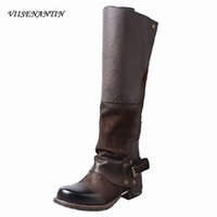 Wholesale distressed boots for sale - Group buy Leather color matching belt buckle thick low heel thick bottom distressed retro high boots neutral handsome knight boots