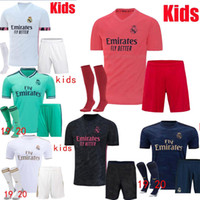 Wholesale real madrid home socks for sale - Group buy 2020 real Madrid HAZARD RAMOS BENZEMA Home away red kids kit soccer jerseys camiseta de fútbol ASENSIO Child football shirts set socks