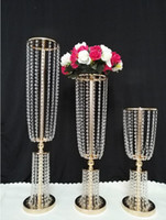 Wholesale luxury birthday cakes resale online - Luxury Tall Acrylic Crystal Wedding Road Lead Props Wedding Table Centerpieces Event Party Decor Wedding Aisle Walkway Flower Vase