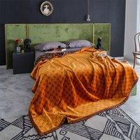 Wholesale shawls gloves sets resale online - Luxury Thickened Velvet Blanket Double Sided Printed Designer Blankets Shawl Brand Bed Sofa Multi Function Winter Blanket High End Blankets