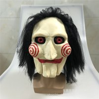 Wholesale horror puppet for sale - Group buy Movie Saw Chainsaw Massacre Jigsaw Puppet Masks with Wig Hair Latex Creepy Halloween Horror Scary mask Unisex Party Cosplay Prop T200620