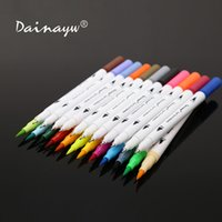 Wholesale sketch books resale online - Dainayw Colors mm Fineliner Water based ink Dual Head Sketch Markers Brush Pen For Draw Coloring Books Design Art Supplies Y200709