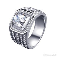Wholesale platinum sets plated cz jewelry for sale - Group buy Mens Luxury RING Silver plated CZ Diamond men white gold rings Wedding Gift platinum Jewelry