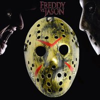 ingrosso parte costume-Horror Cosplay Venerdì 13 Parte 7 Jason Voorhees Costume Latex Hockey Mask Vorhees GB1208