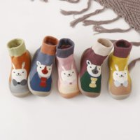 Wholesale baby cartoon socks shoe for sale - Group buy Baby toddler shoes non slip baby floor socks shoes soft rubber soles cartoon toddler socks booties