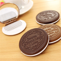 Wholesale plastic chocolates resale online - White Comb Compact Mirror Round Chocolate Sandwich Biscuit Hand Mirrors Foldable Cocoa Cookies I Like Makeup Looking Glass oh C2