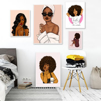 Wholesale sexy painting arts resale online - Sexy Girl Portrait Canvas Painting Fashion African Women Poster and Prints Abstract Pop Art Pictures for Living Room Modern Home Decoration