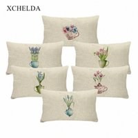 Wholesale pink floral cushions resale online - Pillow Case Cotton Vintage Holiday Pillowcase Spring Flower Pink Floral For Children Bedroom Fur Linen Cushion Cover p7D8