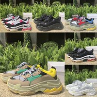 Wholesale Best quality classic triple s Paris Casual Shoes Men Women platform shoes beige green yellow triple black white red height increase Sneakers