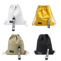 Wholesale mens hip pack resale online - Mens Womens Fashion Drawstring Bags Cinch Sack Canvas Storage Pack Rucksack Backpack Pouch Hip Hop Bags