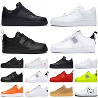 Wholesale one running shoes resale online - running shoes for men women utility triple white black flax skateboard low platform one mens trainers sports sneakers runners