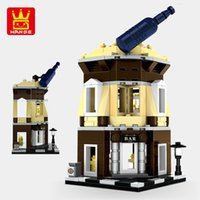 Wholesale mini plastic blocks resale online - New and interesting wangge small particle mini street view building blocks modern city building house plastic toy model series