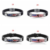 Wholesale 2020 Trump Bracelet Keep America Great Again Wristband Stainless Steel Silicone Bracelets Donald Trump Wristbands Party Favor DBC BH3879