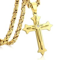 Wholesale stainless steel byzantine necklace resale online - Heavy High Quality Byzantine Chain Cross Pendant For Men Gold Stainless Steel Male Punk Necklaces Jewelry Gift KP601A