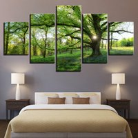 Wholesale big frame for walls for sale - Group buy Landscape HD Poster Modern Panel Green Big Tree Sunny Meadow Canvas Painting Wall Art Print No Frame For Living Room Home Dec