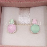 Wholesale pink color earrings for sale - Group buy Bear Jewelry Sterling Silver earrings Mini Color Earrings In Silver With Amazonite And Pink Quartz Fits European Jewelry Style Gift