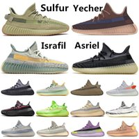 sapatos estáticos venda por atacado-2020 Kanye West Yecher Asriel Israfil Sulfu Running Shoes Tail Light Static Zebra Linen Citrin Gid Clay Earth Cinder Mens Trainers Sneakers