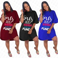 Wholesale solid color t shirt for girls resale online - GIRLS JUST WANNA HAVE FUND Letter Oversize Dress for Women Ladies Summer Loose Dresses Solid Overall Fashion Elegent Long T shirt D71612