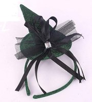Wholesale mini hat hair accessories for sale - Group buy Halloween Devil Witch Cap Headband Carnival Mini top hat glitter fascinator Hair Band hen party COS fancy dress accessory Green